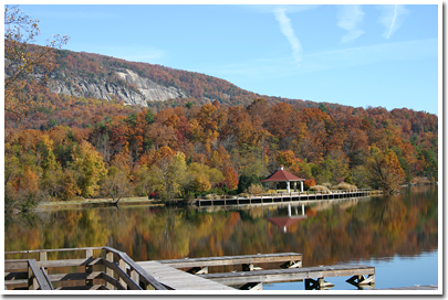 Pavillion and docks at Lake Lure.